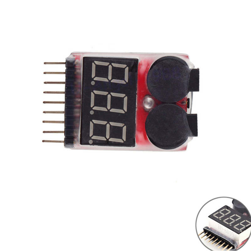 1/2pcs 1-8S LED Low Voltage Buzzer Alarm Lipo Voltage Indicator Checker Tester