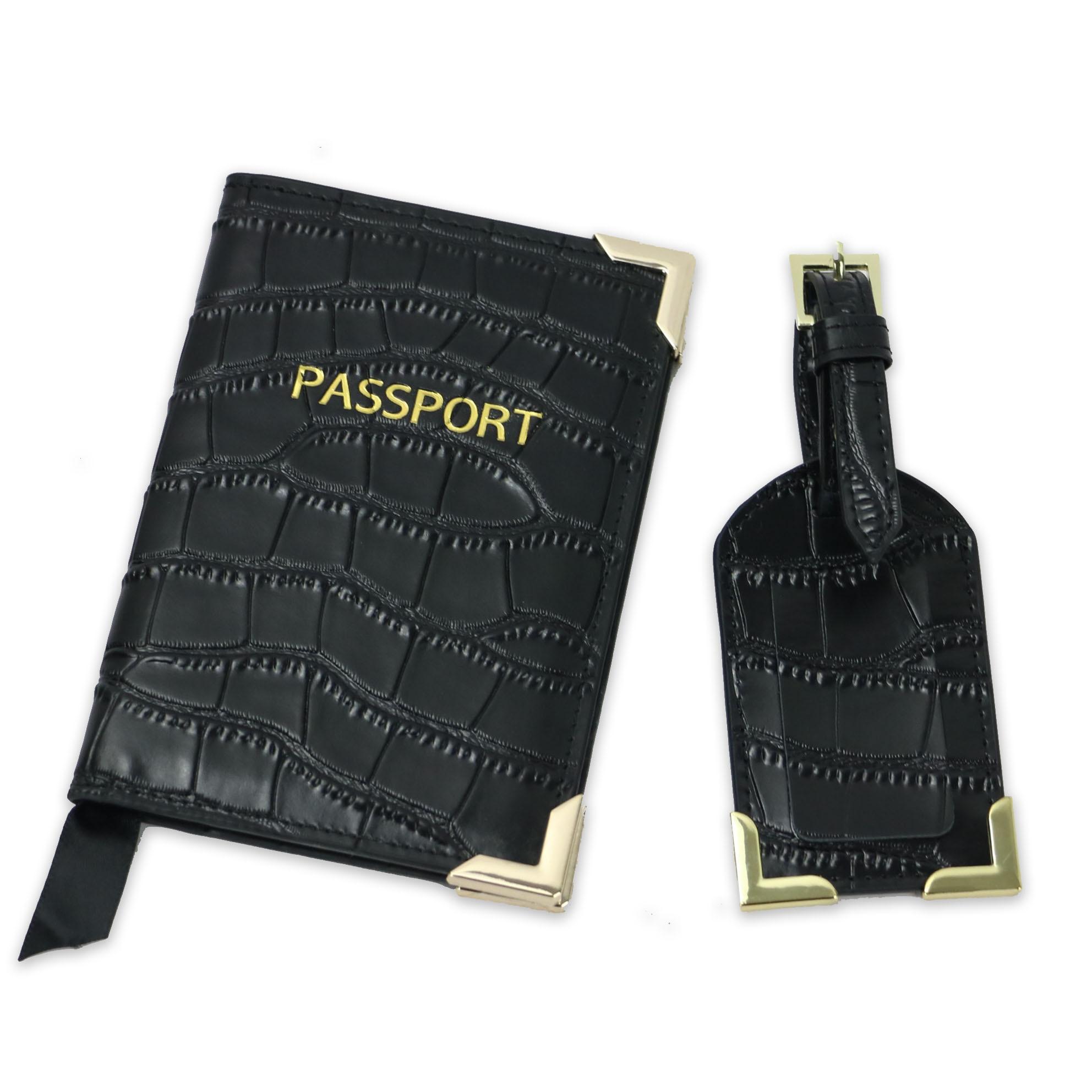 Monogrammed Initial Letters Embossed Crocodile Leather Men Passport Holder Lady Travel Passport Holder Cover Case