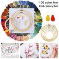 50/100 cores magia bordado caneta agulha hoop conjunto kit fio perfurador costura tricô feminino diy acessórios de costura pinça ferramenta