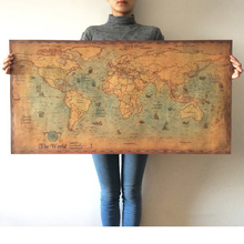 World Map Antique Vintage Old Style Kraft Paper Wall Art Retro Map of The World Poster Print, for Living Room 71x36cm
