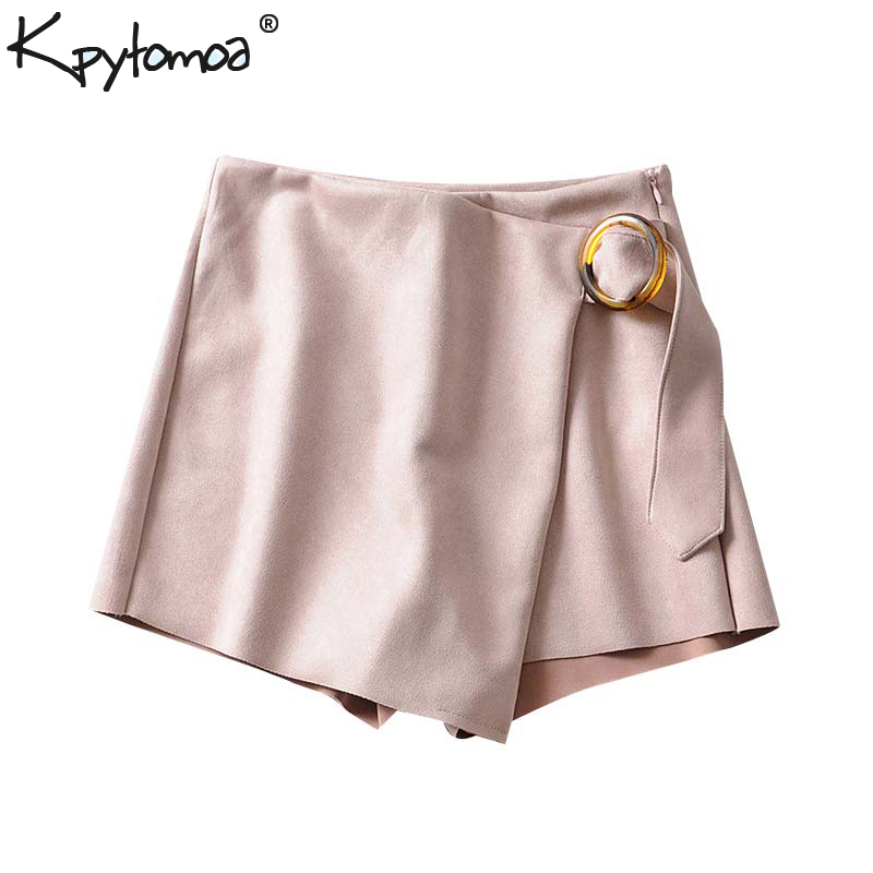 Vintage Stylish Faux Suede With Belt Shorts Skirts Women 2019 Fashion Side Zipper Ladies Short Pants Chic Pantalones Cortos
