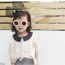 Мода дети цветок форма солнцезащитные очки круглый пластик рамка девочка ребенок цветок оттенки солнцезащитные очки