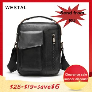 Image 1 - WESTAL mens shoulder bag small flap zipper mens crossbody bags genuine leather bags for men handbag male messenger bags 8211