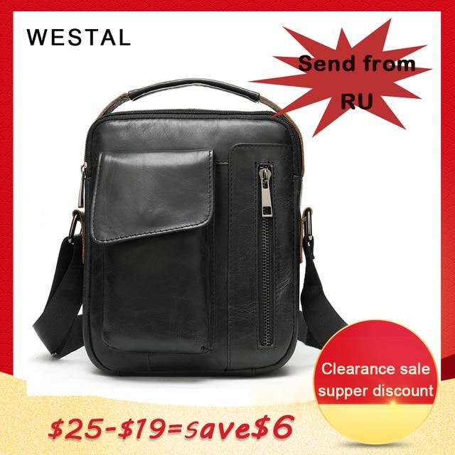 WESTAL mens shoulder bag small flap zipper mens crossbody bags genuine leather bags for men handbag male messenger bags 8211