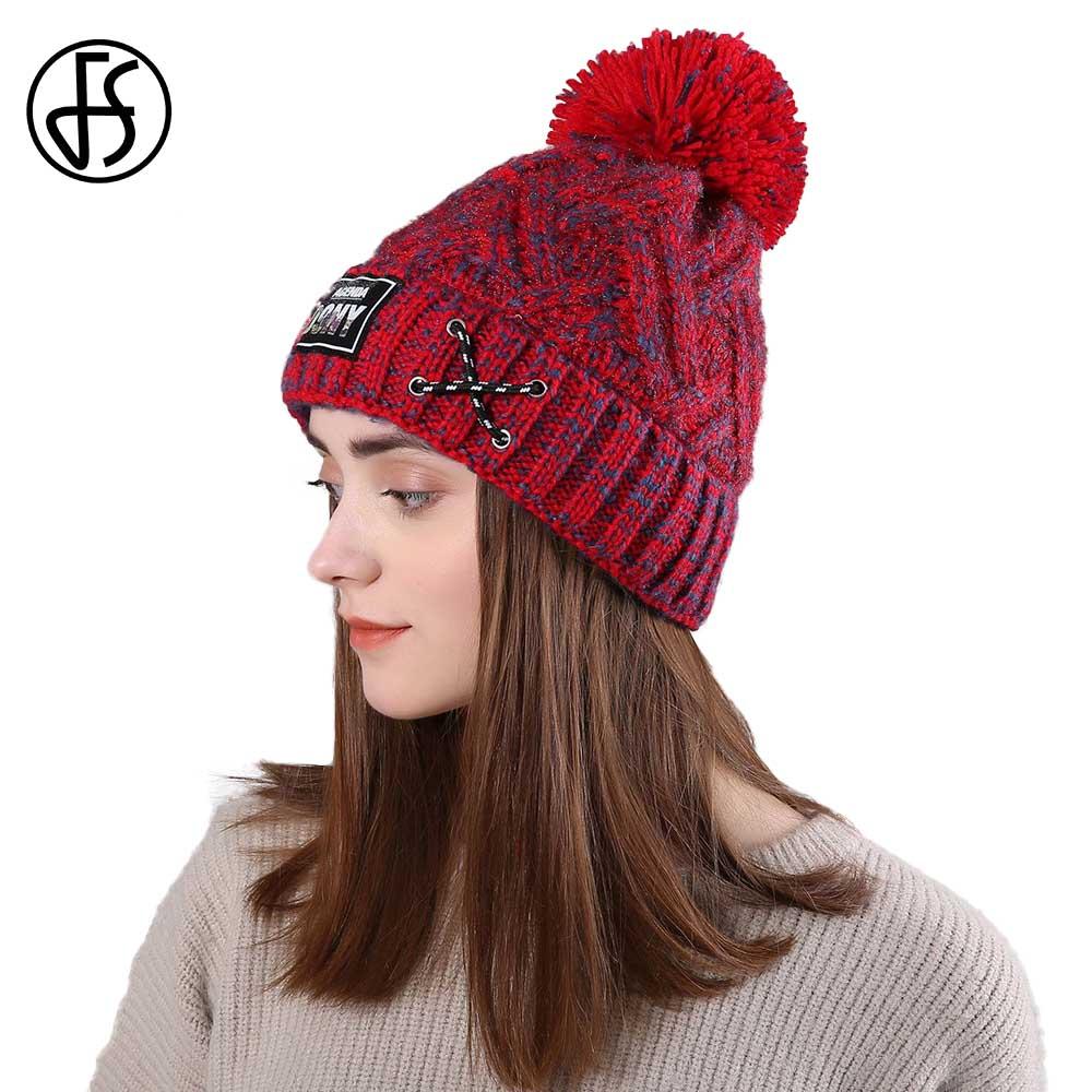 Women Fur Pom Pom Ball Knit Crochet Baggy Bobble Hat Beanie Mens Ski Cap Winter