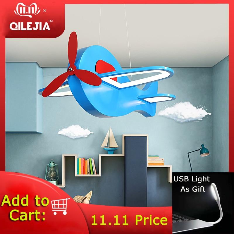 Led avion pendentif lumière simple dessin animé chambre d'enfants garçon chambre personnalité chambre éclairage protection des yeux lumière créative