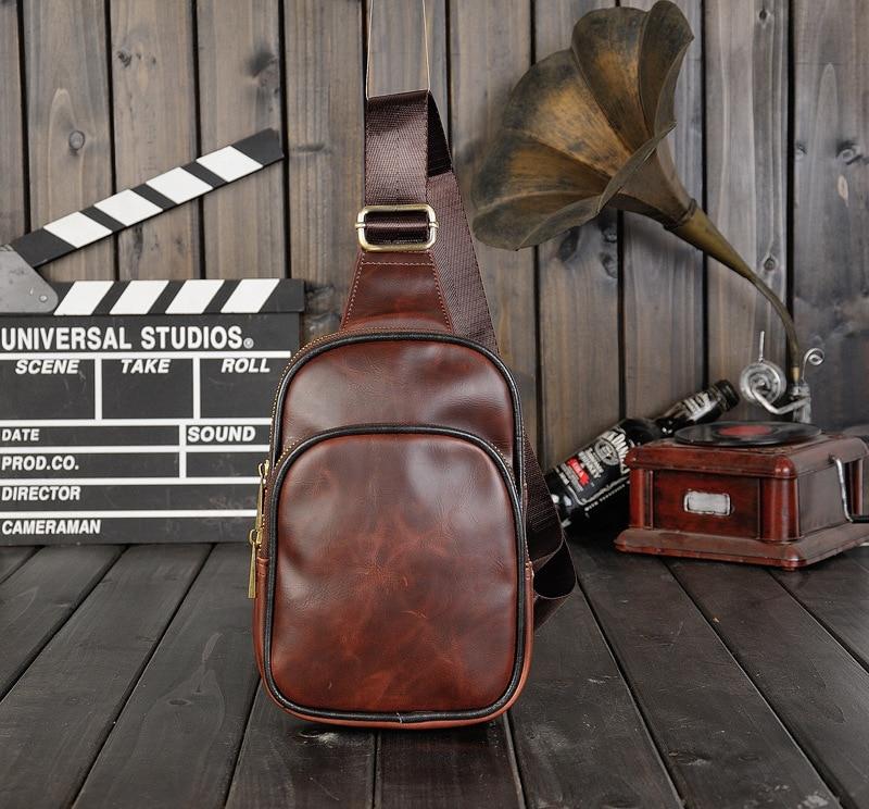 Vintage Diagonal Cross Bag Chest Bag Men's  PU Leather Shoulder Bag