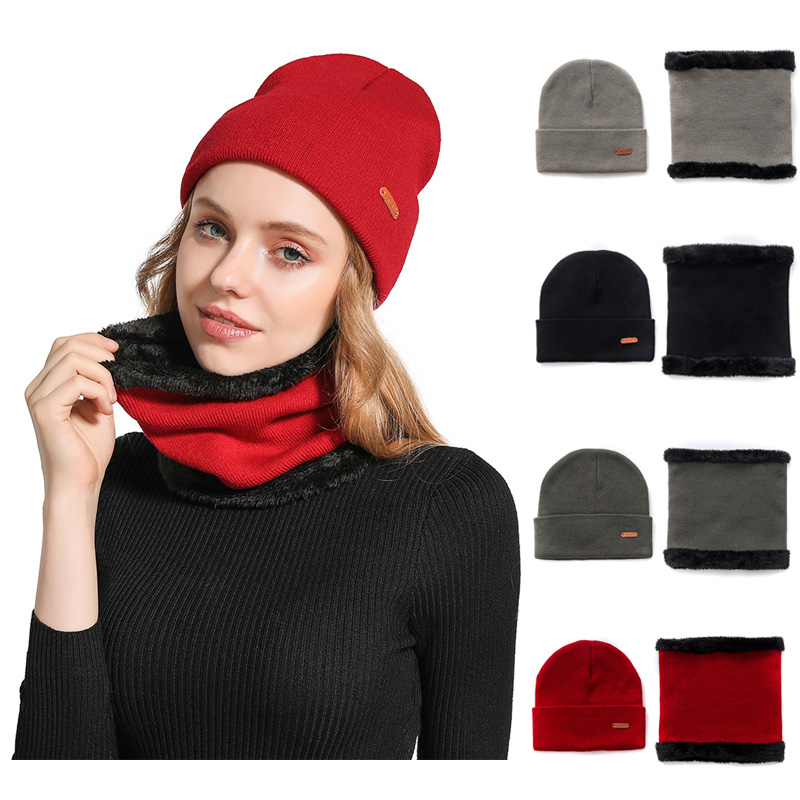Winter Adult And Children Solid Color Acrylic Knit Beanies Hat And Velvet Scarf  2 Pieces Set
