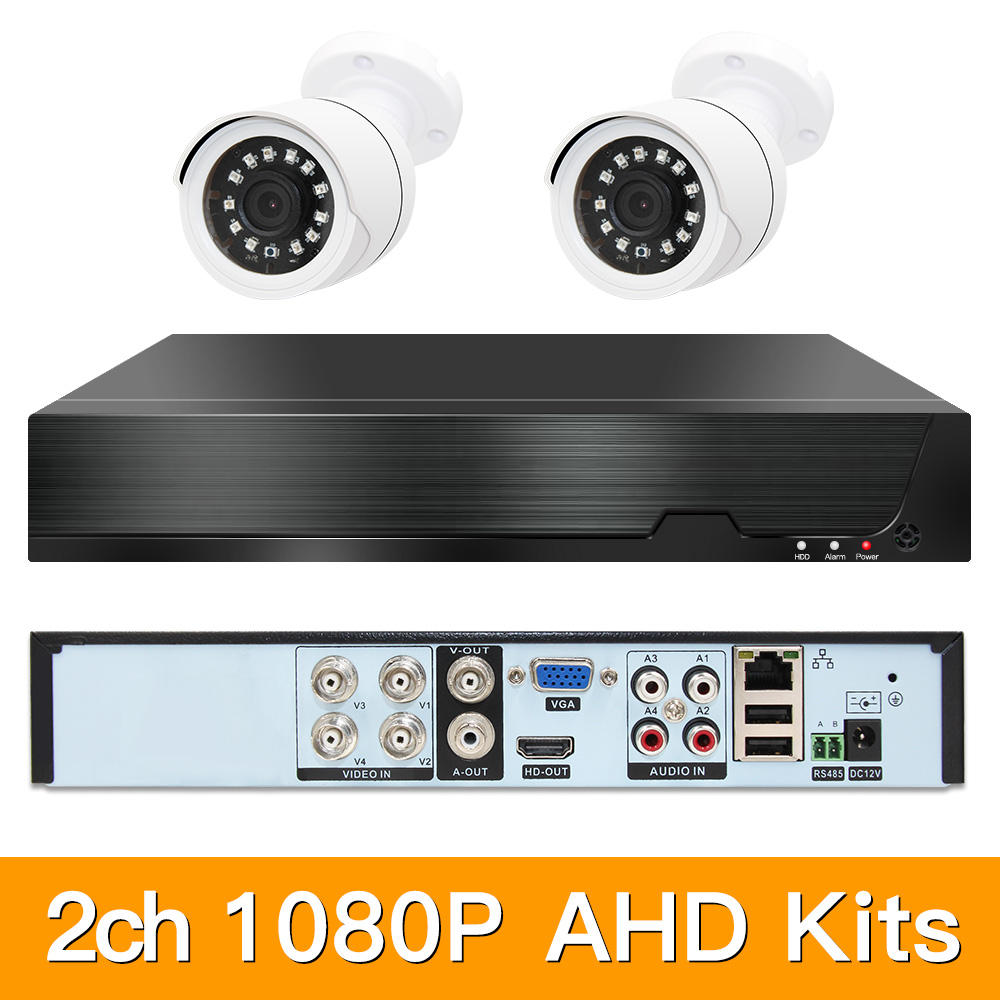 2ch 1080P AHD Kits CCTV System CCTV Security Hybrid DVR Outdoor Bullet AHD Camera Surveillance Video P2P XMEYE 2MP KITS