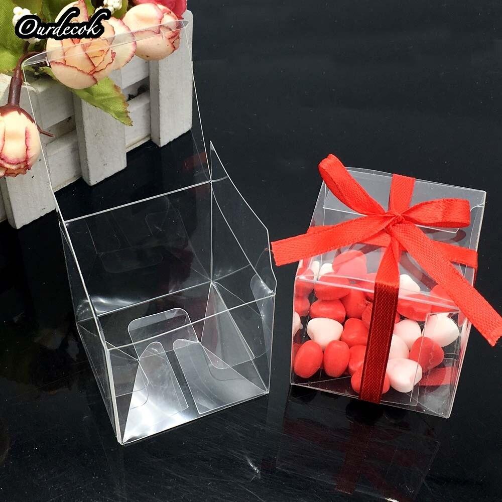 1000 sztuk kwadratowy pcv prezent urodzinowy Box Wedding Favor Holder cukierki czekoladowe pudełka pudełka czekoladek 5x5x5cm na DHL/EMS bezpłatny statku w Torby na prezenty i przybory do pakowania od Dom i ogród na  Grupa 3