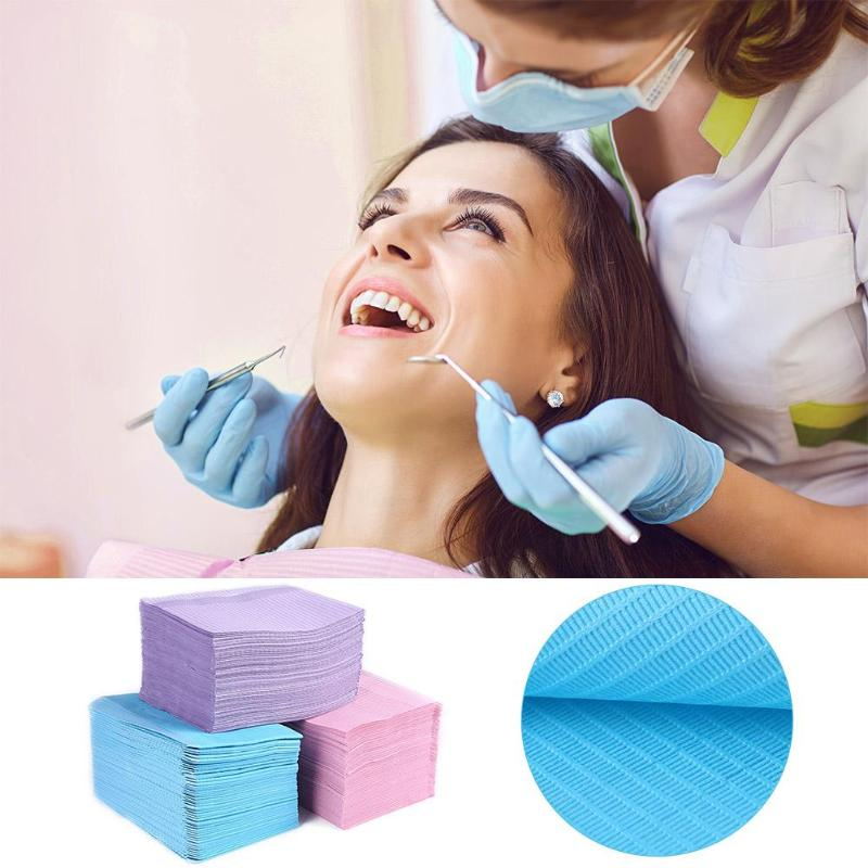 125pcs Disposable Dentist Medical Paper Waterproof Safety Multilevel Hygiene Leak-proof Dental Oral Bib Neckerchief
