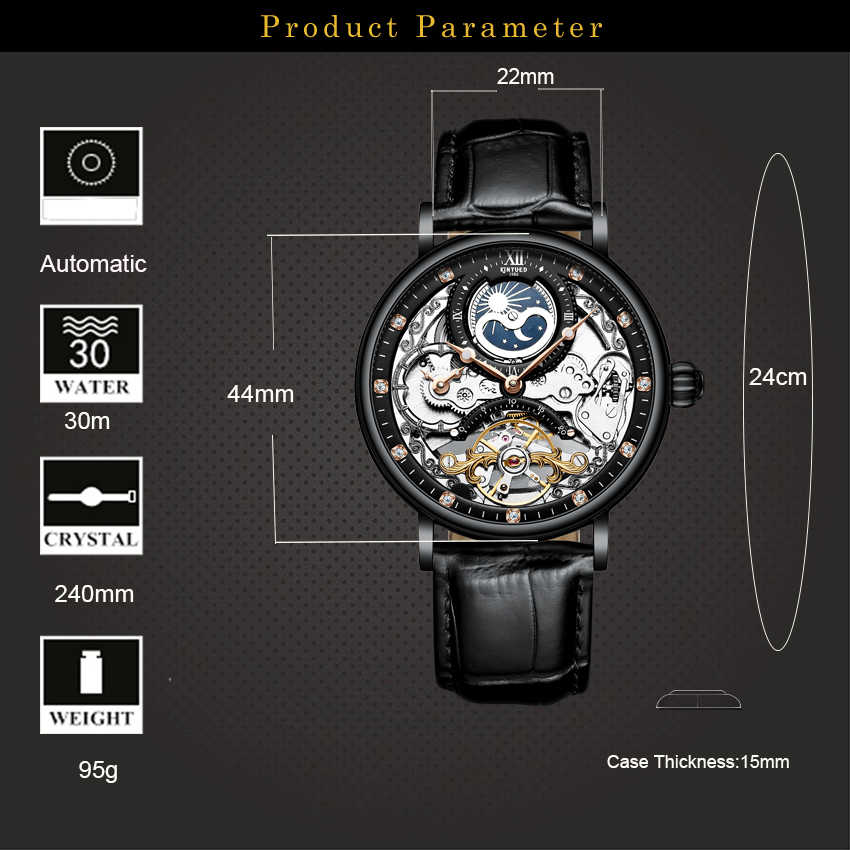 Relogio mecanico KINYUED אוטומטי מכאני שעון גברים Tourbillon שלד Heren Horlogerelogio mecanico relojes automaticos