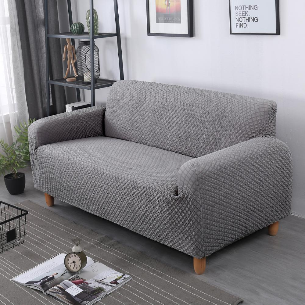 Jacquard Sofa Cover For Living Room Universal Square Plaid Couch Cover Thick Stretch Slipcover 1/2/3/4 Seater European Sofa Case