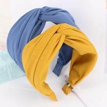 7cm Hair Accessories 8 Colors Solid Luxury Fashion Elastic Headband Cross Knot Hairband