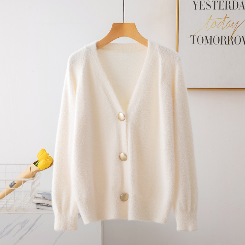 Women Autumn Winter Elegant Sexy V Neck Cardigan Sweater Female Long Sleeve Knitted Coat Top Christmas Pull Femme Hiver