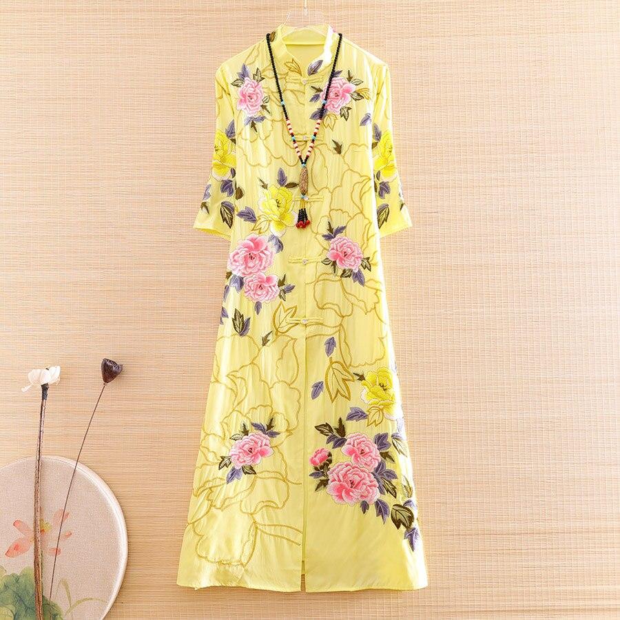 High-end primavera verão feminino estilo chinês floral qipao vestido bordado elegante senhora a linha cheongsam 2 peças vestido S-XXL