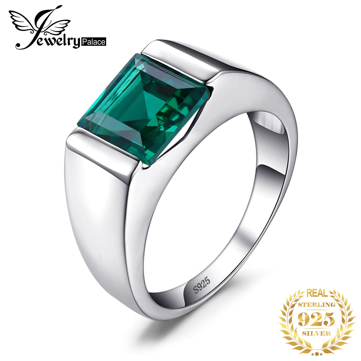 It is just a picture of JewPalace Simulated Nano Emerald Ring 38 Sterling Silver Rings for men Wedding Rings Silver 38 Gemstones Jewelry Fine Jewelry