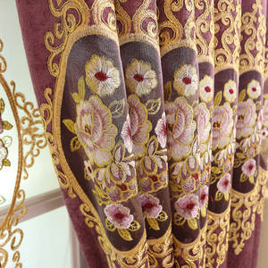 Blackout Curtains Window-Screens Embroidery Living-Room Hollow European-Style Finished-Products