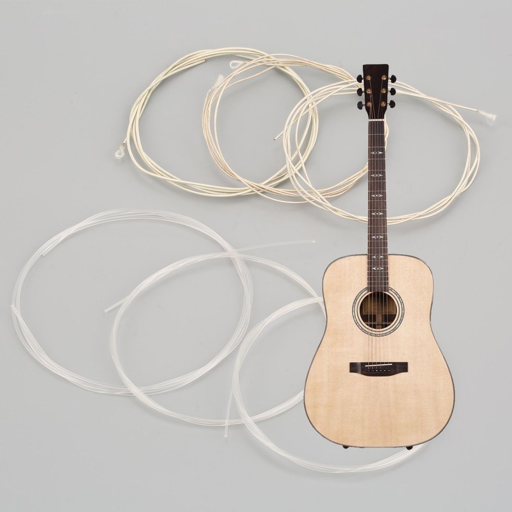 6psc прозрачные серебряные нейлоновые серебряные струны набор для классической гитары 1 м 1-6 E B G D A E комплектующие для бас-гитары и набор аксессуаров