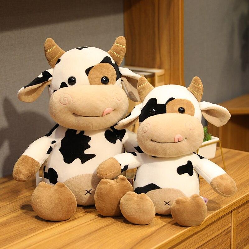 New Cute Animal Cartoon Cows Stuffed Plush Toy Kawaii Cattle Comfortable Soft Toy Children Birthday Present Christmas Gift