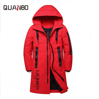QUANBO 2019 New Winter Couple Models Down Jacket Thick Warm Long Fashion Hooded Coat 90% White duck down Slim Parkas Plus size