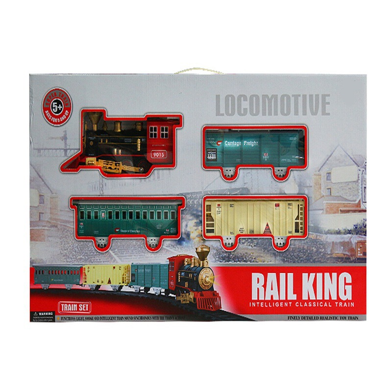 Model Steam Electric Train Classical Assembled Camera Track Toy Smoke Light Music Children Birthday Gift