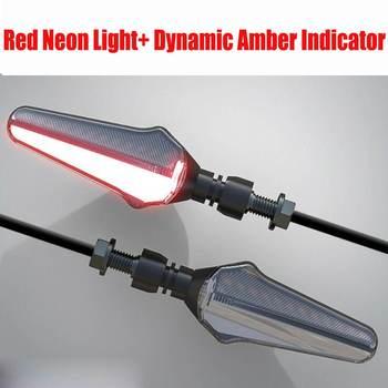 2x modyfikacji motocykla wskaźnik światło kierunkowskazu LED czerwony niebieski czerwony Neon światła i płynącej dynamiczny Amber wskaźnik lampka sygnalizacyjna tanie i dobre opinie Audew Włącz Sygnał Świetlny CN (pochodzenie)