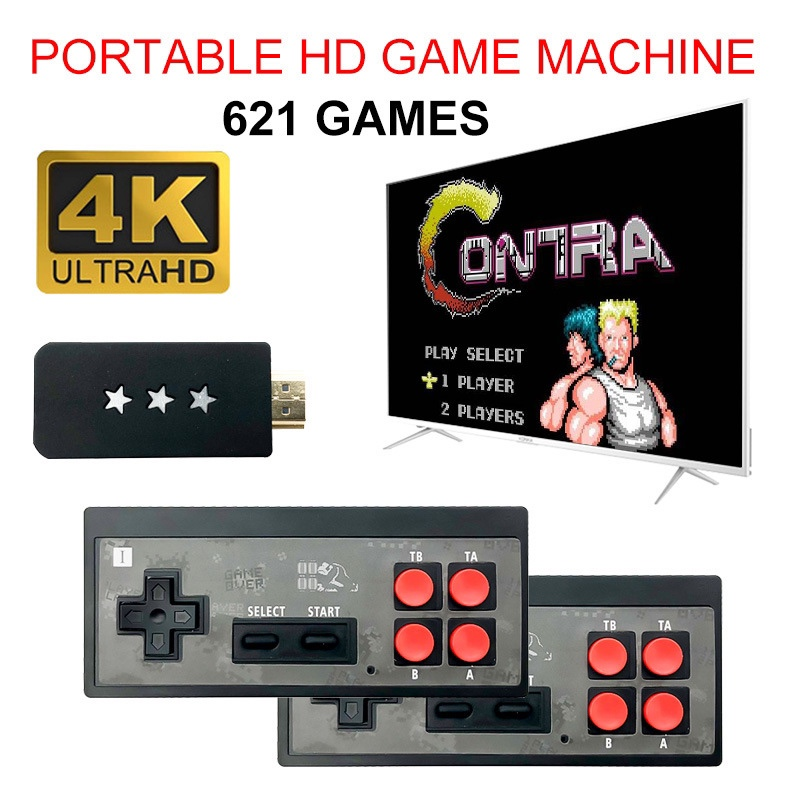 4K HDMI Video Game Console Built in 621 Classic Games Mini Retro Console Wireless Controller 4K Output Dual Handheld Game Player