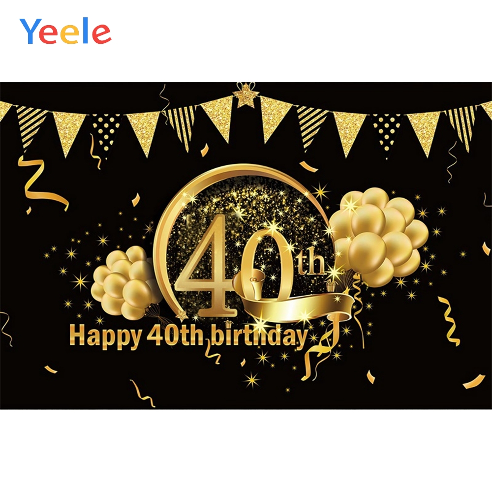 Yeele Happy <font><b>40th</b></font> <font><b>Birthday</b></font> Party Portrait Golden Balloon Glitter Photo Backgrounds Customized Photographic <font><b>Backdrops</b></font> Photo Studio image