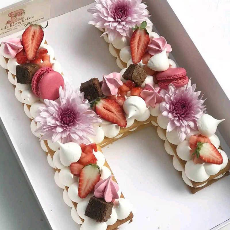 PET كعكة كوكي الشوكولاته الديكور قالب الأبجدية كعكة قوالب بلاستيكية كعكة عيد ميلاد تصميم الخبز ملحقات المعجنات أدوات