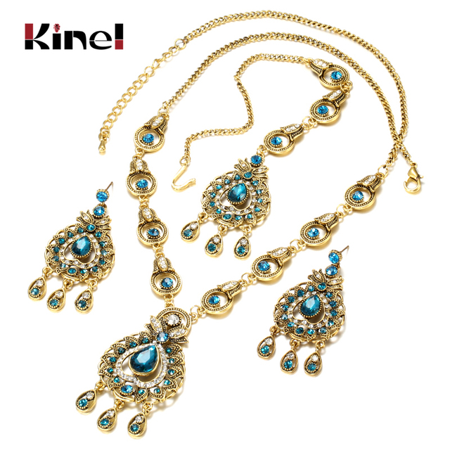 From India Vintage Look Jewelry Sets Pendants Necklace Earring For Women Gold-Color Mosaic  Blue Crystal Party Gifts 1