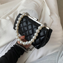 Pearl Beading Lingge PU Leather Crossbody Bags for Women 2021 Summer Fashion Branded Shoulder Handbag Lady Trending Clutch