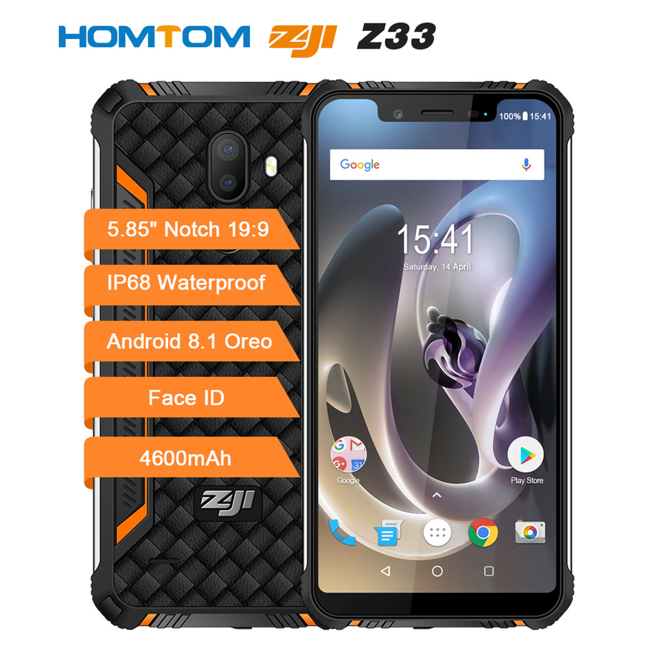HOMTOM ZOJI Z33 SmartPhone IP68 Waterproof MT6739 1.5GHZ 3GB 32GB 4600mAh 5.85 Dual sim Android 8.1 OTA OTG Face ID Cellphones image
