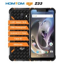 "Homtom zoji z33 smartphone ip68 impermeável mt6739 1.5ghz 3gb 32gb 4600mah 5.85 ""sim duplo android 8.1 otg face id telefones celulares"