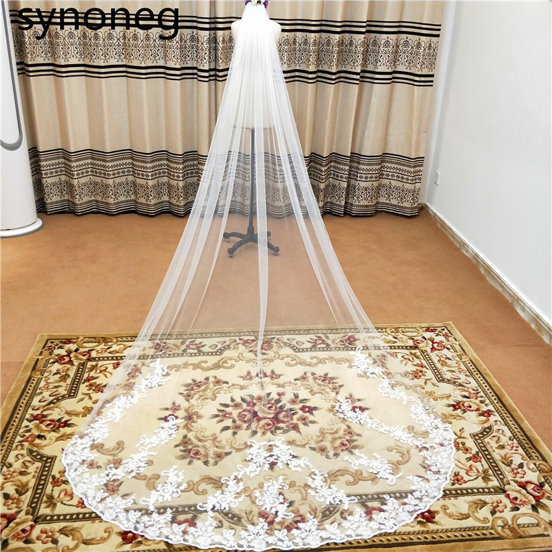 2019 Real Photos Bling Sequins Partial Lace Edge One Layer Cathedral Wedding Veil With Comb Elegant Bridal Veil Velo De Novia