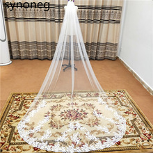 2021 Real Photos Bling Sequins Partial Lace Edge One Layer Cathedral Wedding Veil with Comb Elegant Bridal Veil Velo De Novia