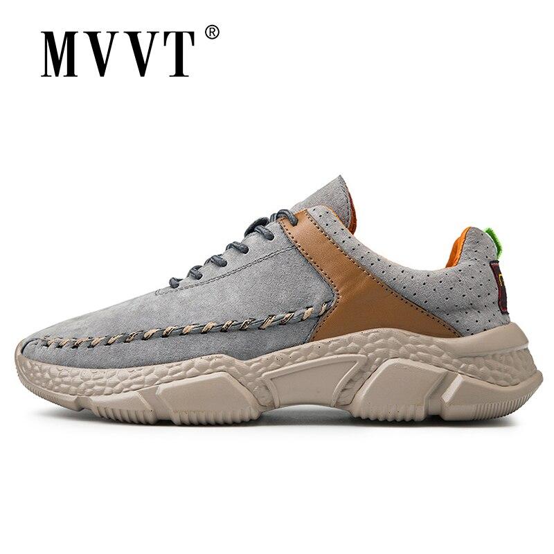 2020 Suede Men Sneakers Leather Casual Shoes Men Comfortable Massage Soles Fashion Men Leather Shoes Man Footwear Plus Size