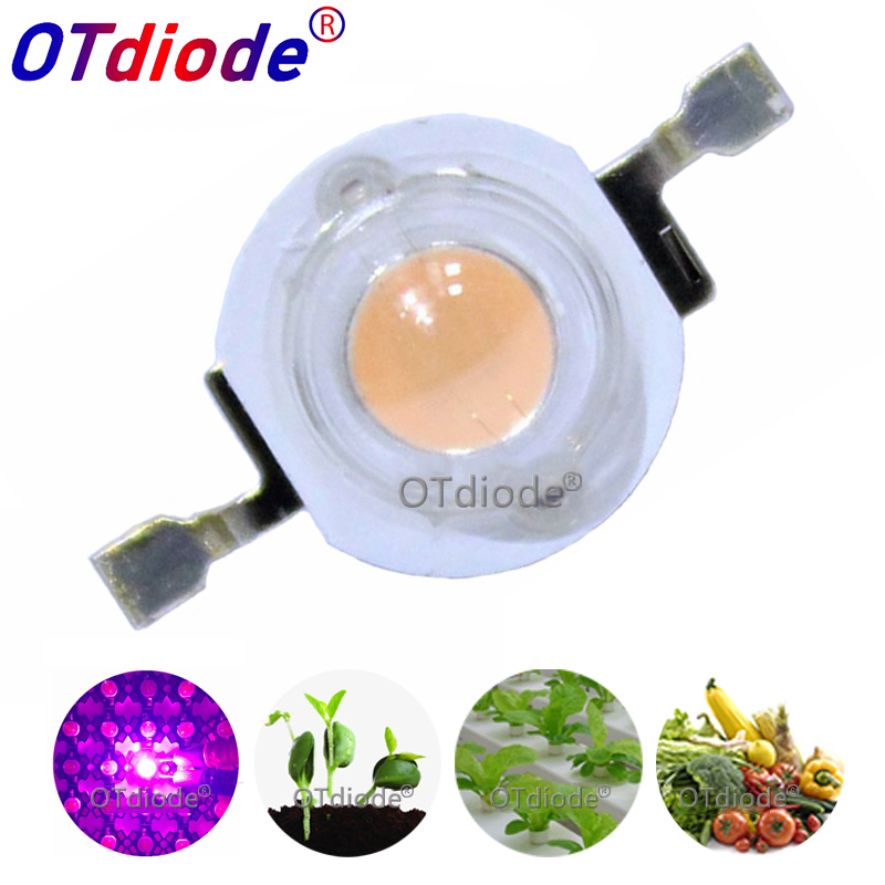 100pcs 3W Grow Light LED Chip Bulb Light Chips Full Spectrum 380-840nm Diode Emitter Plant Growing SMD COB Diode