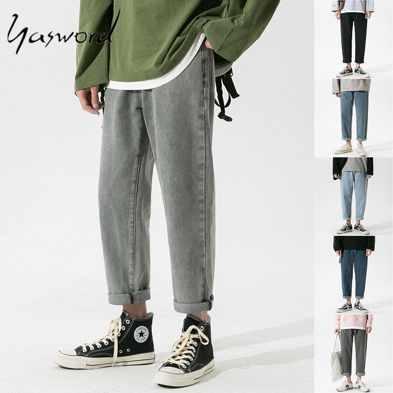 Yasword Jeans Men Denim Pants Loose Cotton Jeans Spring Trousers Casual Fashion WashedPants Solid Color Straight Pants Teens