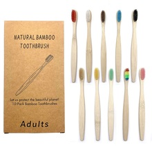 10PCS Individual Package Natural Bamboo Toothbrush Set Soft Bristle Charcoal Teeth Whitening Bamboo Toothbrushes Oral Care