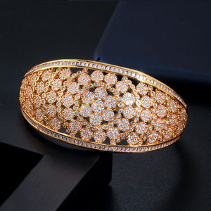 Image 3 - CWWZircons Glitter Indian Gold Color Micro Pave Cubic Zirconia Fancy Flower Large Wide Statement Bridal Wedding Bangles BG037