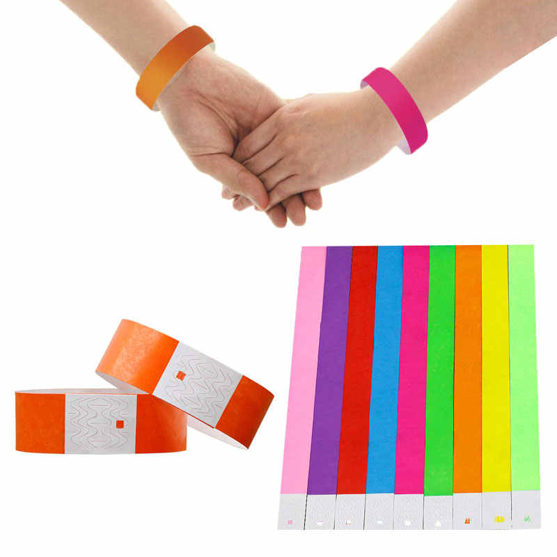 100 Pcs Count Tyvek Wristbands 3/4 Inch Disposable Waterproof  Paper Wristbands for Party Playground  Events