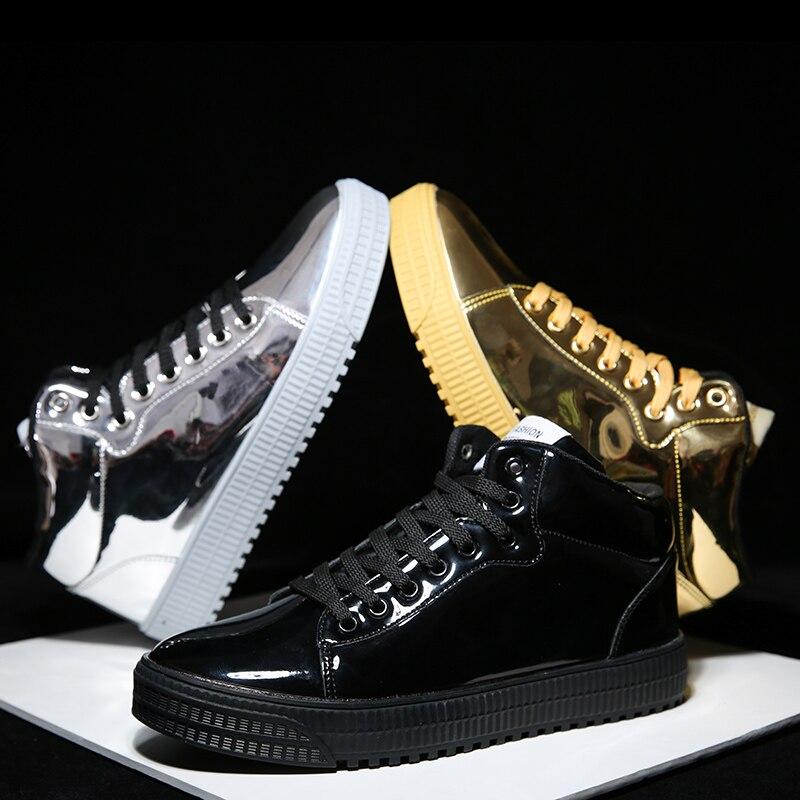 QWEDF2019 femmes chaussures vulcanisées baskets dames à lacets décontracté Basket chaussures marche Bling miroir en cuir plat argent chaussure SE-92 - 2