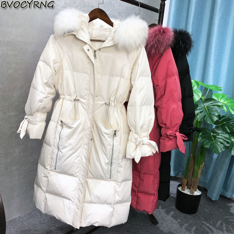2019 new fashion donsjack   coat   female thin casual overcoat high -end fur cap winter thick warm parka