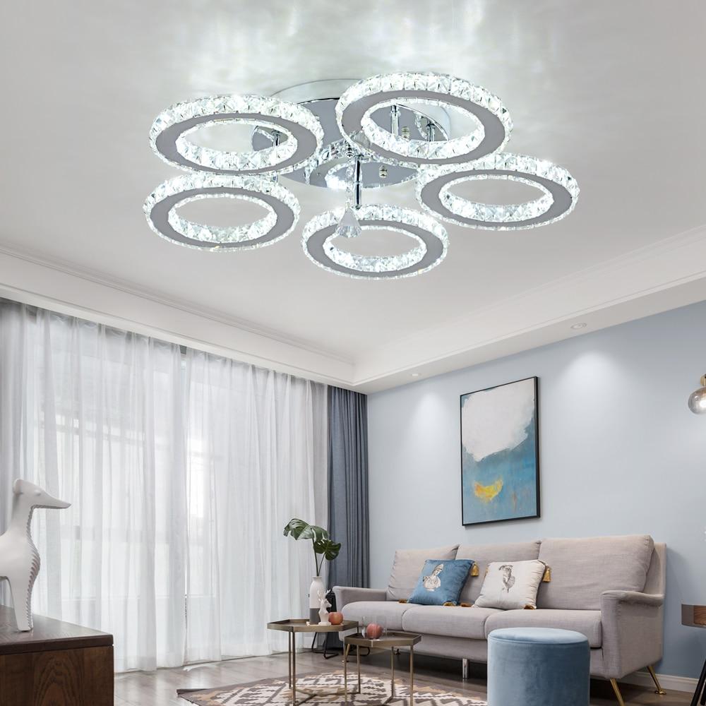 cheapest 3 5 Rings K9 Crystal LED Chandeliers Lighting Modern Chrome Plafon Lustre Luminaire  Stainless Steel Ceiling Lamps  For Kitchen