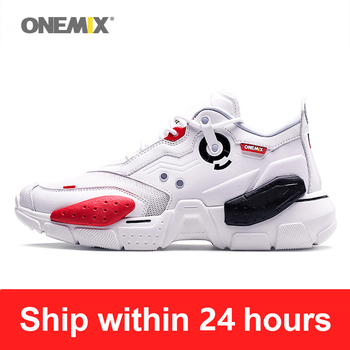 ONEMIX Man Sneakers Technology Style Leather Damping Comfortable Men Running Shoes Cushion Outdoor Walking Footwear DIY Big Size