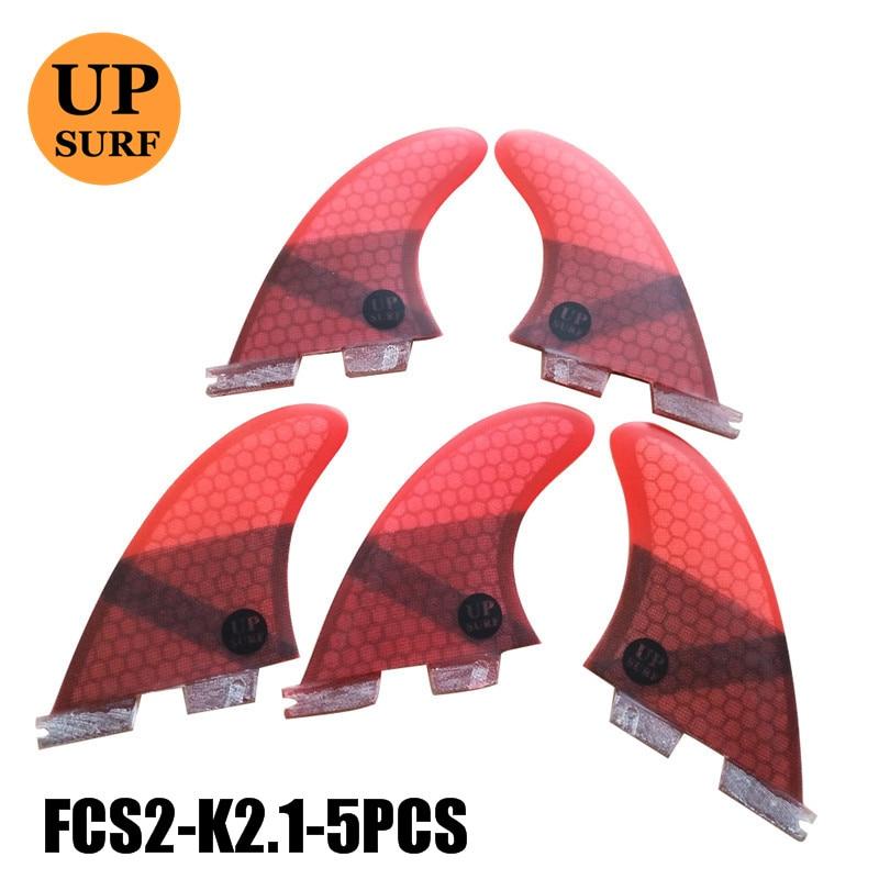 FCS2 Fins K2.1 FCS II Red Thruster Fin Set Fiberglass Tri-quad Fins Surf Fins Water Sports Quillas Surf