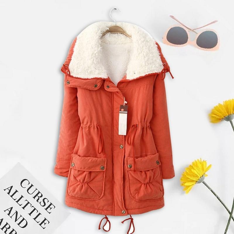 Winter Jacket Women Warm Parkas Casual Slim Ladies Fleece Solid Fur Collar Jacket Outerwear Coats 3XL Chaqueta Mujer Coat Women