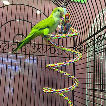 Parrot Hanging Nibble Toy Parrot Colored Cotton Rope Rotating Ladder Bird Cage Small Parrot Toy Pet Training Accessories pet bird climbing net bird parrot toys hemp rope training climbing cage toy pet bed bird cage toy 15