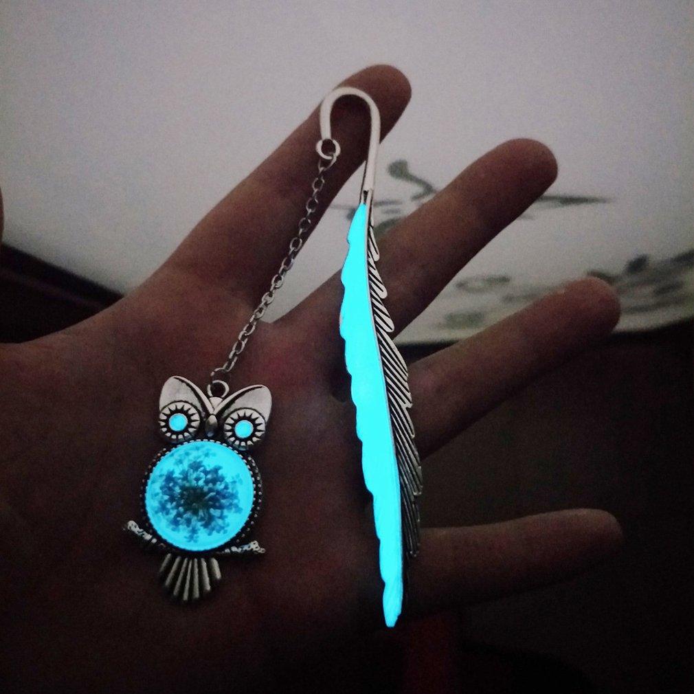 Luminous Feather Bookmarks Retro Temperament Glow Metal Bookmark Fluorescent Owl Bookmark Classical Bookmark